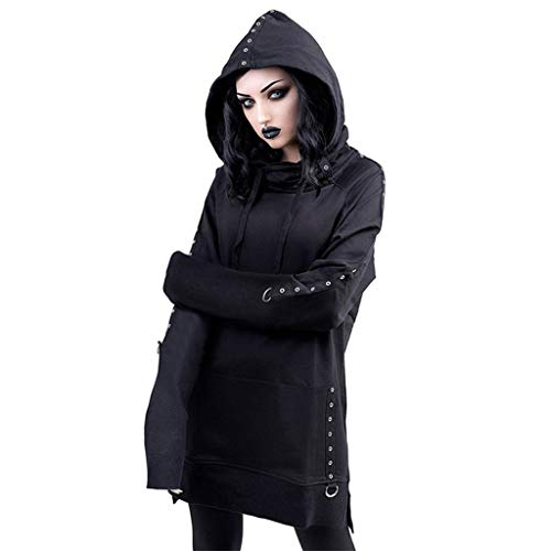 Best Price NANTE Top Women's Blouse Gothic Punk Black Retro Long Sleeve Sweatshirt Hoodie Shirts Wom...