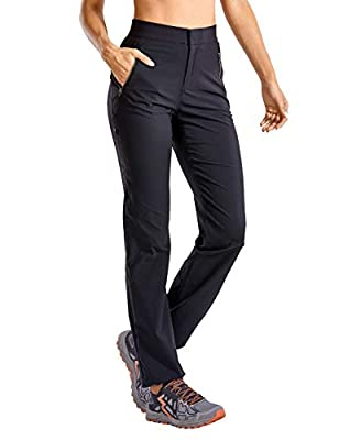 CRZ YOGA Women's Quick Dry Lightweight Hiking Pants Zip Off High Rise Stretch Casual Outdoor Pants with Zipper Pockets Black Small