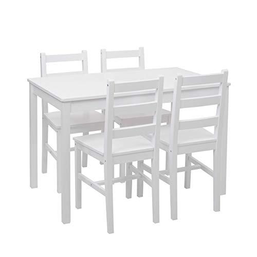 Mendler Esszimmer-Set HWC-F77, Sitzgruppe Esszimmergruppe, Massiv-Holz Landhaus 110cm ~ weiß