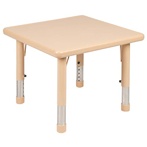Flash Furniture 24' Square Natural Plastic Height Adjustable Activity Table