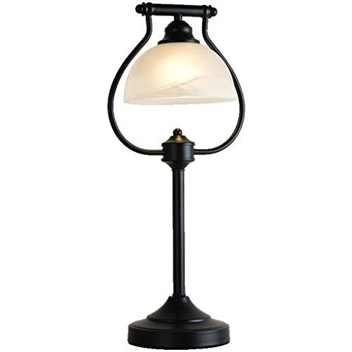 LEGELY Lampe de table en verre, lampe de chevet en fer forgé simple de style américain, lampe de table d'éclairage de chambre chaude de jardin, lampe d'art classique, E27 noir 20.47in * 9.06in