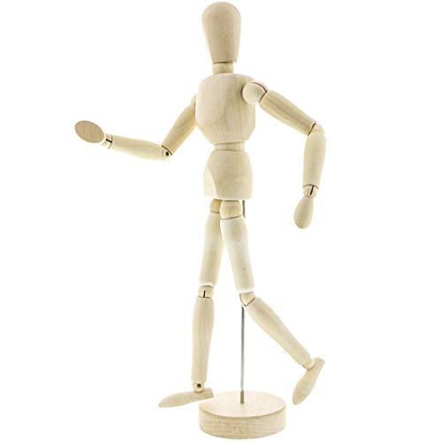 Le Juvo Drawing Mannequin 13' Wooden Figure Model - Posable Art Manikin Jointed Perfect for Home Decoration and Sketching The Human Figure
