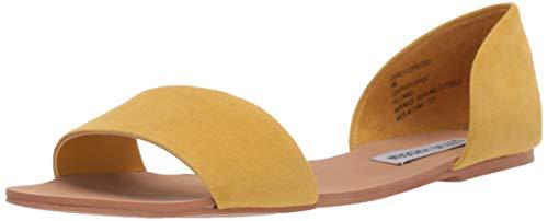 Steve Madden Corey Sandalias planas para mujer, Amarillo (gamuza amarilla), 39.5 EU