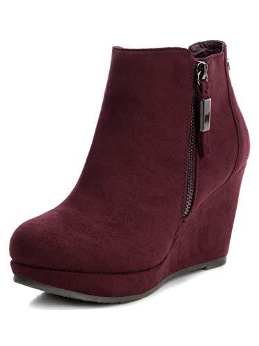 XTI Damen Stiefel Basic mit Keilabsatz mit Reißverschluss abknöpfbar - für: Damen, Burgunderrot - Größe: 38 EU