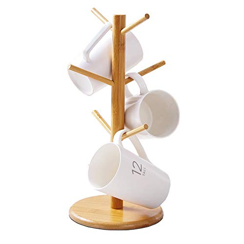 BVLJOY Bamboo Mug Rack Tree, Organic Bamboo Mug Holder, Mug Hook,Mug Stand,Coffee Cup Dryer with 6 Hooks