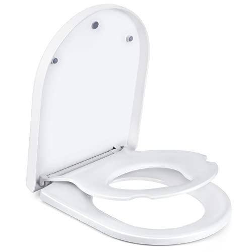 Amzdeal WC Sitze Toilettensitz mit kindersitz integriert, U-Form toilettendeckel mit absenkautomatik, Familien 2 in 1 Quick-Release-Toilettendeckel, wc sitz kinder Toilettentraining
