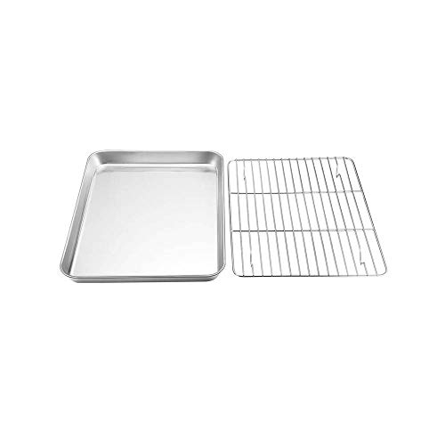 YANCAI Baking Sheet & Rack Set, Stainless Steel Baking Pans with Cooling Rack, Non Toxic, Easy Clean & Heavy Duty, Dishwasher Safe(1)