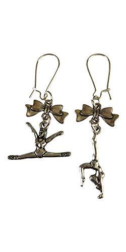 Orecchini placcati in argento a forma di fiocco da ginnastica.