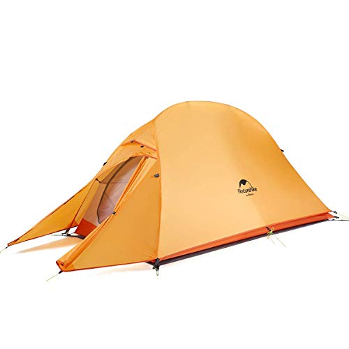 Naturehike Cloud-Up 1, 2 and 3 Person Lightweight Backpacking Tent with Footprint - 210T 3 Season Free Standing Dome Camping Hiking Waterproof Backpack Tents (1 Person - Orange)