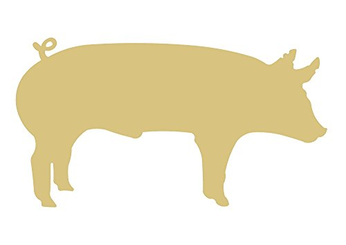 Pig Cutout Unfinished Wood Farm Animal Country Decor Door Hanger Bacon Pet MDF Shaped Canvas Style 3