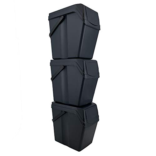 Prosperplast Set of 3 Recycling Bins with 75 Litre Capacity in Anthracite with Handles 40.2 x 24 x 50.5 cm Each Tower Bin 113 cm Height
