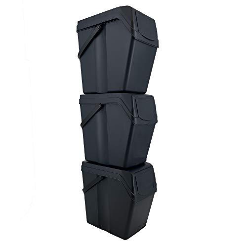 Juego de 3 Cubos de Basura/Reciclaje con Capacidad de 75 litros Total, en Color Antracita, con Asas, 40,2 Prof. x 24 Frontal x 50,5 Altura Cada Cubo en Torre, 113 cms. de Altura