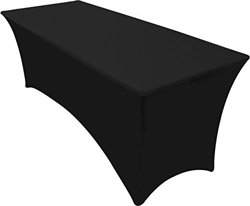 Utopia Kitchen 6ft Rectangular Stretchable Tablecloth - Spandex Tight Fit Table Cover - Black