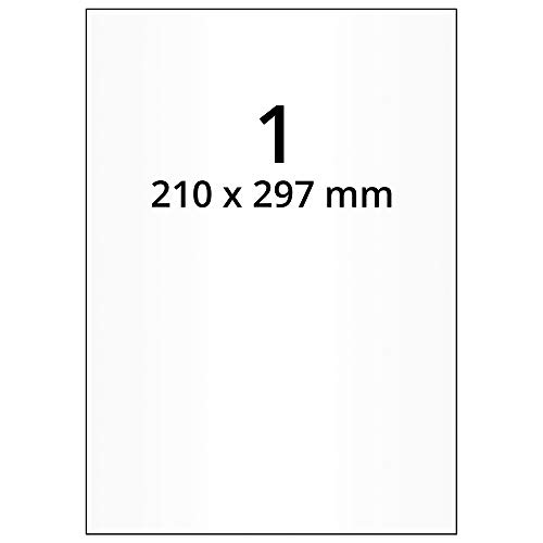 Labelident wetterfeste Folienetiketten weiß matt - 210 x 297 mm - 100 PET Polyester Etiketten auf 100 Blatt DIN A4 Bogen, selbstklebend