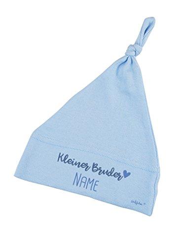Striefchen® Hellblaue Babymütze mit Namen - Kleiner Bruder - zur Geburt
