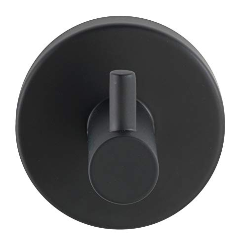 Wenko Wandhaken Uno Bosio Black matt Handtuch, Kleider-Haken, Edelstahl rostfrei, 5,5 x 5.5 x 5.5 cm