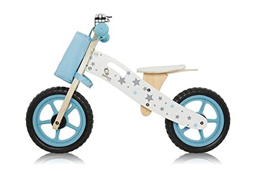 Bici da equilibrio in legno blu per bambini 3 anni in più con custodia e parafango