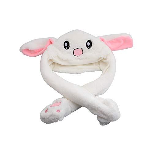 Plush Bunny Cap Cute Rabbit Hat Stuff Cartoon Skullies Beanies Funny Ears Jump Move Up and Down for Women Girl
