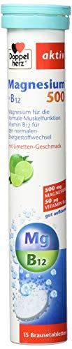 Doppelherz Magnesium 500 Brausetabletten / Gut auflösende Nahrungsergänzung mit Magnesium & Vitamin B12 zur Unterstützung der Muskelfunktion / Plus Vitamin B12 / 1 x 15 Tabletten
