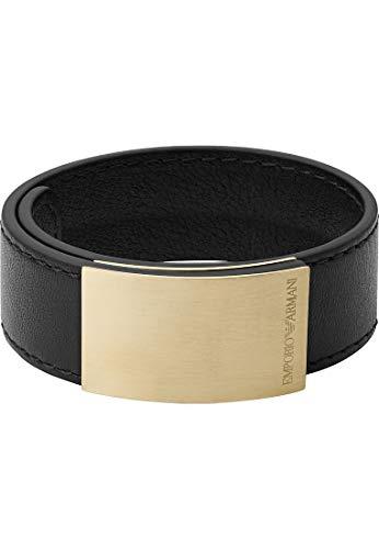 Emporio Armani EGS2752710 Men's Bracelet with Press Stud Leather Black
