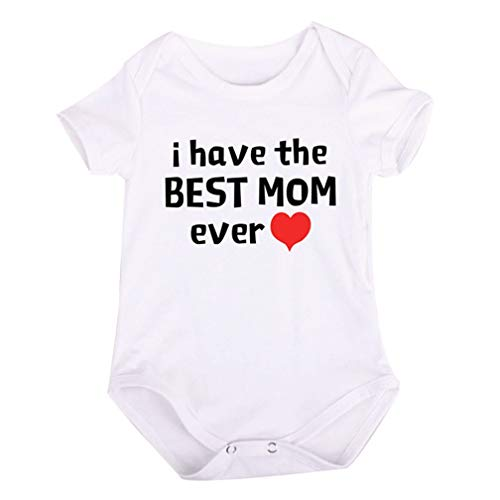 ALLAIBB Nouveau-né Unisexe bébé garçon Fille Manches Courtes Lettre Imprimer Barboteuse (Color : Love mom, Size : 12-18)