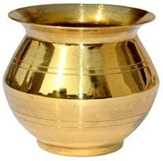 Puja Bazaar Brass Kalash Lota Height (4.5cm, 1.8inch) Diameter (4cm,1.6inch) 50ml Water Capacity