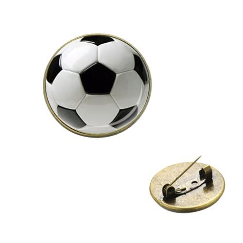 Broche en forme de ballon de football faite à la main avec cabochon en verre imprimé 3D - Cadeau pour homme et garçon