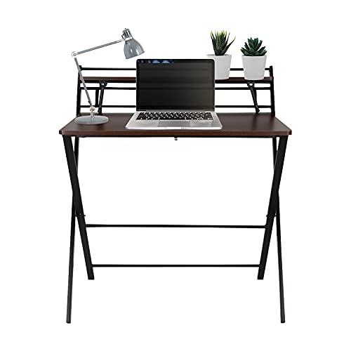 hjh OFFICE 821003 Easy CLAP - Escritorio plegable (80 x 50 cm, estructura metálica, ahorra espacio), color negro y nogal