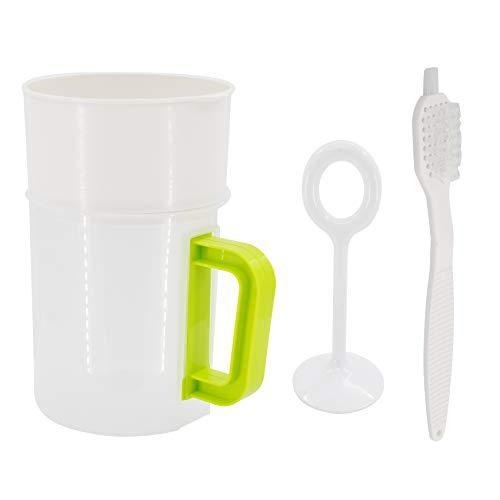 Multiple Usage Food Strainer Yogurt Strainer Maker Soy Milk Juice Tea Filter Stainless Steel Mesh Nut Milk Bag Replacement 1.5 Quart with Pitcher Handle Press Stick Brush
