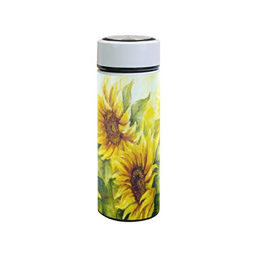 XiangHeFu Sport Waterfles lekvrij houden koud of warm geschenk Happy Sunflower Travel Mug Thermos 12oz