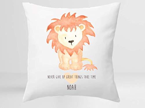 Kissen für Kinder mit Löwen und Namen personalisiert - 40x40