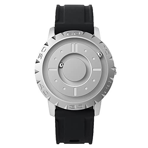 EUTOUR Reloj Analógico para Hombre y Mujer Reloj Magnético de Cuarzo Suizo Relojes de Pulsera Originales con Correa de Resina Silver