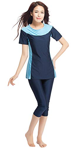TianMaiGeLun Muslimische Bademode Badeanzug Full Cover Bescheidene Badebekleidung Modest Muslim Swimwear Beachwear Burkini Kurzarm Tops und Hose 2-Teilige Modest Bademode Sets (Blau, S)