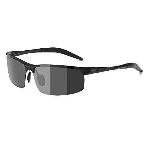 ZealBea Focus Polarizadas Gafas de Sol, UV400 Protege Lentes con Lente fotocromática, Aleación de Al-MG, Bisagra de Resorte, Gafas Ligeras para Hombres Conducen, Pescan, Juegan Aire Libre (Negro)