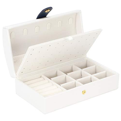 Caja Joyero Caja De Organizador De Viaje Portátil Caja De Joyería De Cuero PU Pendiente De Múltiples Capas Pendiente Anillos Collar Estuche De Almacenamiento Organizador Blanco