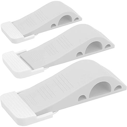 Wundermax Door Stoppers - Rubber Security Wedge for Carpet, Concrete, Tile, Linoleum & Wood - Heavy Duty Door Stop for Child Safety - Home Improvement