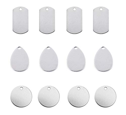 Floranea 12 Pcs Stainless Steel Stamping Blank Silver Teardrop Round Rectangle Charms Tag for Art Craft DIY Making Necklace Handmaking Pet Dogs Kitten Cats ID Tags