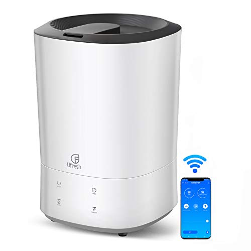 UFRESH WiFi Humidifiers for Bedroom, 5.5L Top Fill Cool Mist Humidifier for Home, Baby, Large Room, Office, Whisper-Quiet, App Control, Essential Oil Tray, 3 Moisture Setting, Waterless Auto Shut-Off