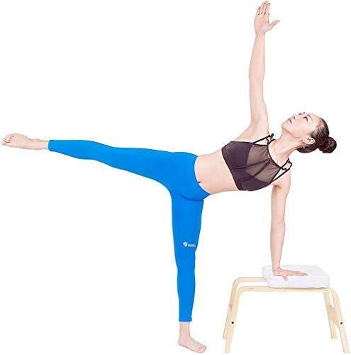 Yoga Headstand Bench – Legno e PU Pad – Yoga Inversione Stand Sedia per Famiglia Palestra Allenamento Fitness – Alleviare la fatica e costruire corpo – Bianco