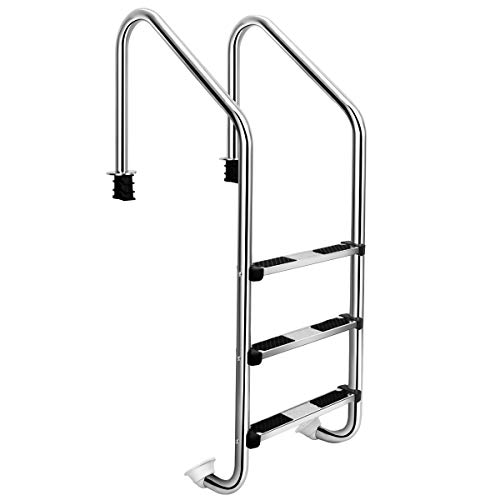 Goplus Steel Pool Ladder, Premium Stainless Steel Non-Slip 3-Step in-Pool Ladder for Above Ground Pools, 331 Lbs Capacity