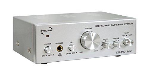 Dynavox CS-PA1 MK Mini-Verstärker, leistungsstarker kompakter Verstärker mit Kopfhörer-Anschluss und Klang-Regelung für Höhen und Bass, Silber