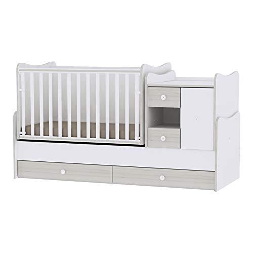 Lorelli babybed, tienerbed 3 in 1 Mini Max ombouwbaar, voor 2 kinderen tegelijk lichtgrijs
