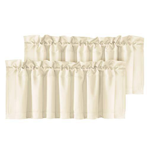 "H.VERSAILTEX 2 Panels Blackout Curtain Valances for Kitchen Windows/Bathroom/Living Room/Bedroom Privacy Decorative Rod Pocket Short Winow Valance Curtains, 52"" W x 18"" L, Beige"