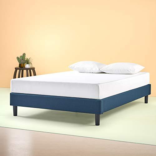 Zinus Bastidor para cama de plataforma tapizado esencial Curtis, Sin necesidad de usar un somier, Sólido soporte de listones de madera, Azul marino, Sin cabecero, 150 x 200 cm