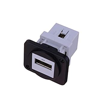 USB 2.0 Connector Dual USB Port Female Socket Panel Mount Female to Female Converter Plastic Data Transfer Aviation Connectors for Audio Video Optoelectronic Network Industrial Equipment