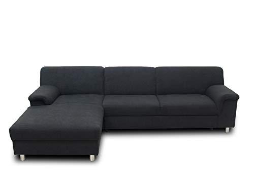 DOMO. collection Jamie Ecksofa, Sofa mit Schlaffunktion, Couch in L-Form, modernes Schlafsofa, anthrazit, 251x150x72 cm