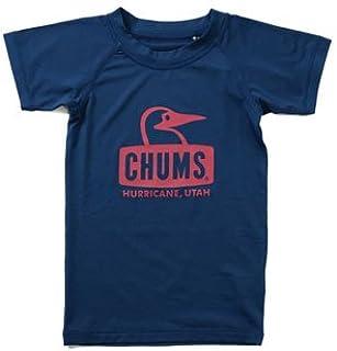 (チャムス) CHUMS ラッシュガード ブービーフェイス Tシャツ キッズ 半袖 CH21-1049 ネイビー:N001 S(90-100)