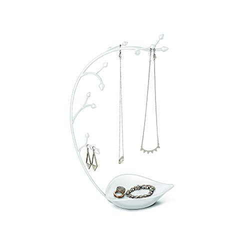 Umbra Orchid Jewelry Organizer and Necklace Holder with Built-in Dish for Rings, Earrings, and Bracelets, White