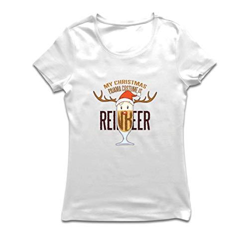 lepni.me Camiseta Mujer Reinbeer Disfraz de Pijama de Navidad, Regalos para Amantes de la Cerveza (Small Blanco Multicolor)