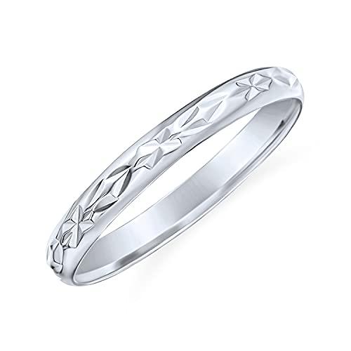 Personnalisez élégant Unisex Couples Diamond Cut & Stash Striped Edge Pattern Wedding Band Ring For Men Women Poli finition brillante .925 Sterling Silver 3MM